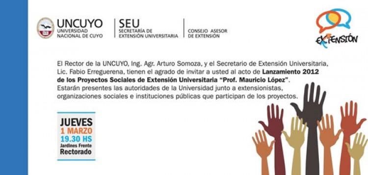 """Lanzamiento 2012 de los Proyectos Sociales de Extensión Universitaria """"Prof. Mauricio López"""""""