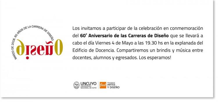 Invitación al festejo del 60 aniversario de Diseño